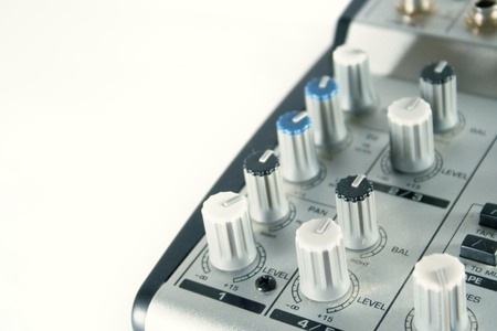 reverb: Small sound mixer and preamp on white background Stock Photo