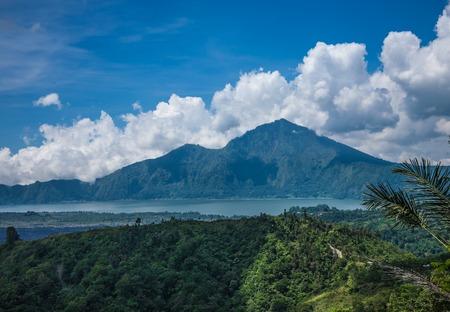 Landscape with old Indonesian volcano in Bali photo