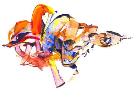 pintura abstracta: Fondo creativo abstracto de las técnicas mixtas o textura, elemento de diseño, aislado en el fondo de papel