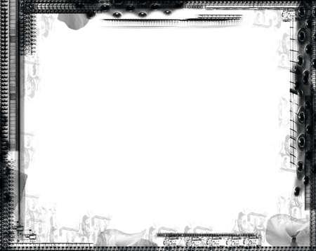 Computer designed grunge border over white