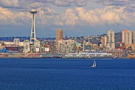 Seattles skyline, Space Needle and yacht, Washington, United States Stock Photo