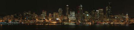 Panorama of Seattle at night, United States photo