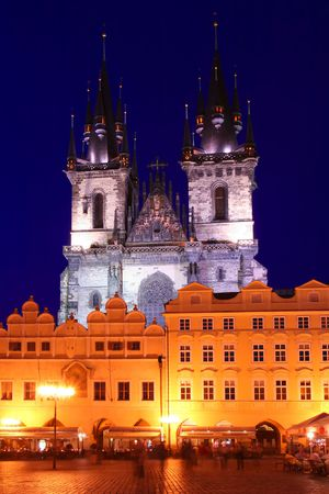 Church of Our Lady Before Tyn at Night, Prague, Czech Republic photo
