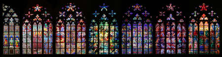 St. Vitus Cathedral stained glass window collection, Prague, Czech Republic Stock Photo - 1518072