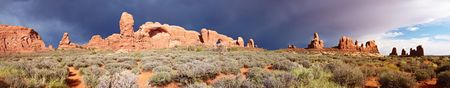 Desert after the Storm, panorama, Arches National Park, Utah, USA
