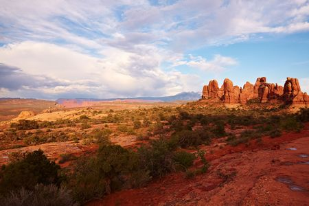 Red Desert at Sunset after the Storm, Arches National Park, Utah, USA photo