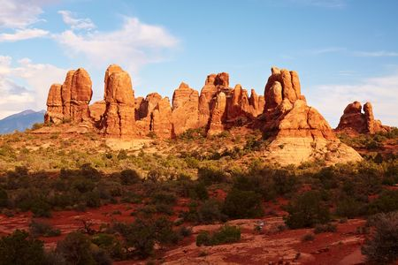 arches national park: Red Desert at Sunset, Arches National Park, Utah, USA