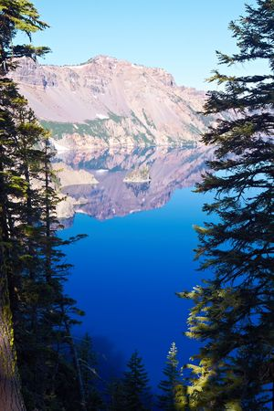 phantom: Phantom Ship, Crater Lake National Park, Oregon, United States Stock Photo