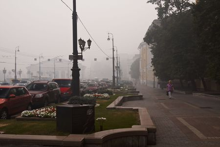 Moscow, Russia, August 6, 2010 - smog from forest fires in the center of Moscow