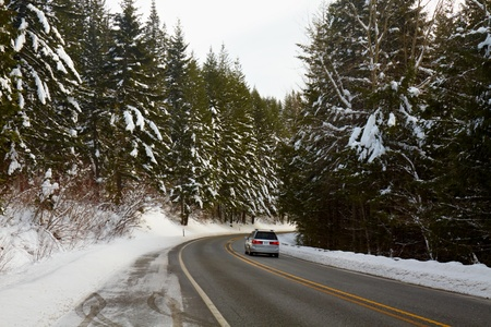 Mountain Road in Winter, North Cascades, Washington, USA photo