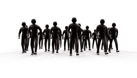siloette: People group going forward 3d with shadows