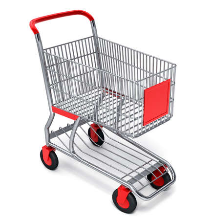Shopping cart over white background  photo
