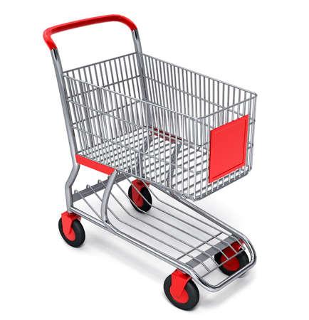 Shopping cart over white background Stock Photo - 1352179