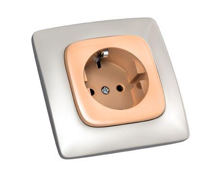 Plug socket over white background photo