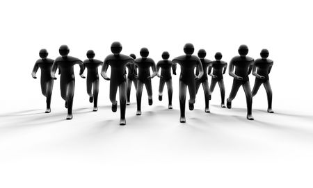 siloette: People group running forward from light with shadow 3d Stock Photo