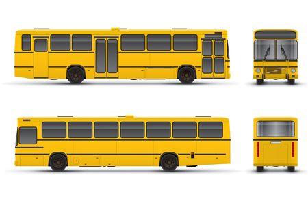 Yellow bus vector scheme over white background photo