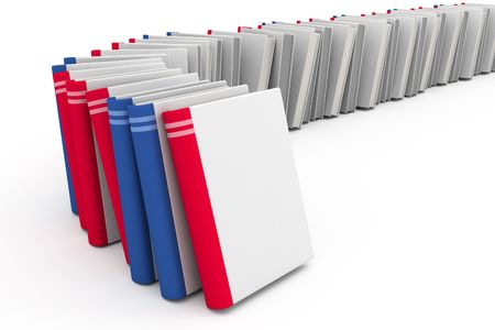 Red and blue books with blank covers Stock Photo - 1356608