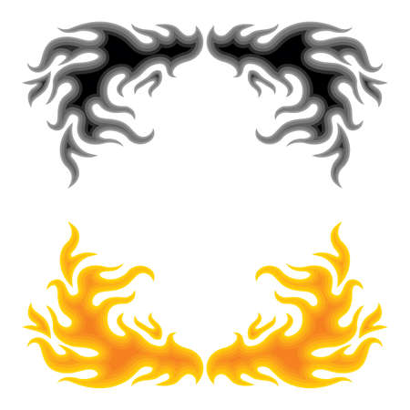 Fire vector illustration abstract decoration border over white illustration