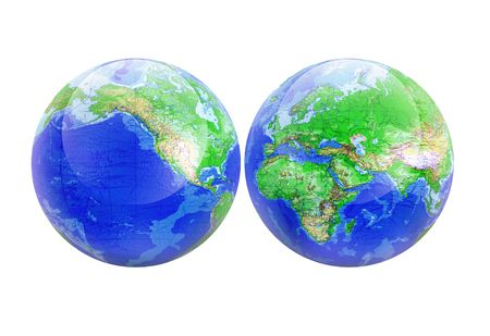 Planet earth world map globe isolated