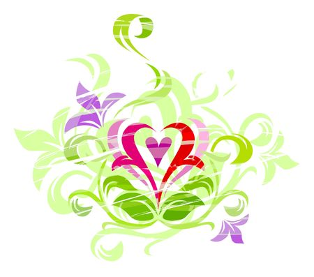 Love Grunge Ornament - heart in green leaves and violet flowers photo