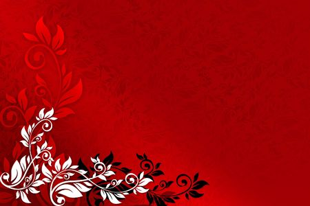 Red floral background with black and white ornaments Stock Photo
