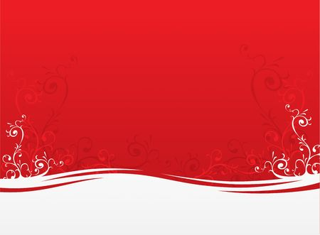 Foliage plants red background vector illustration for greeting cards Stock Photo