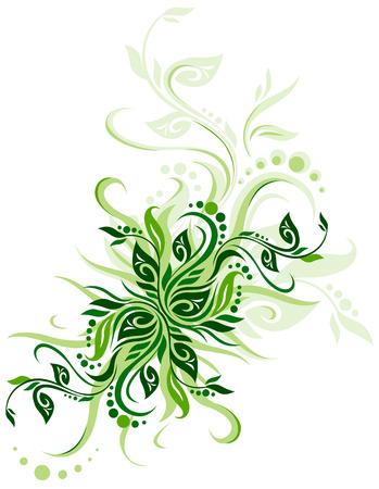 Green floral background vector illustration design for greeting cards Illustration
