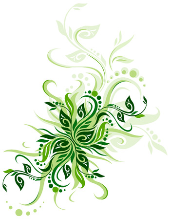 Green floral background vector illustration design for greeting cards Illustration