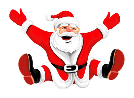funny bearded man: Happy Christmas Santa jumping rasterized vector illustration for greeting cards  Illustration