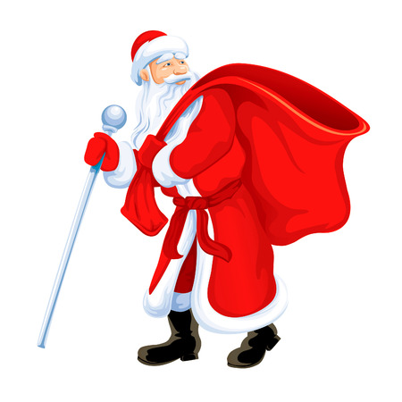 Christmas santa grandfather frost with empty sack isolated  Illustration