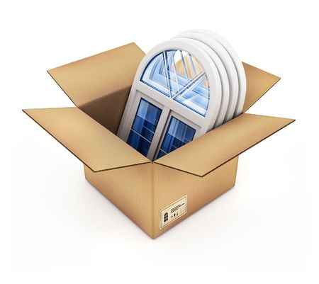 cardboard box with plastic windows isolated 3d illustration illustration