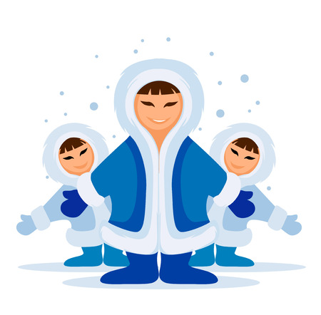 snow man: Smiling eskimo people group meeting in snow vector illustration