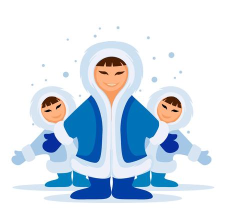 esquimal: Sonriente esquimal reuni�n de un grupo de personas en la nieve ilustraci�n vectorial  Vectores