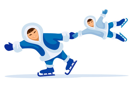 Smiling eskimo man with child skating on ice rink vector illustration Vector