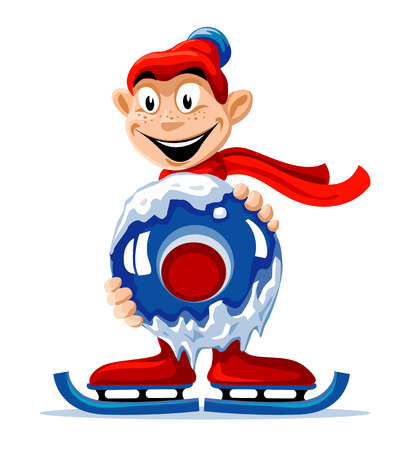 Boy on the scates holding ice circle vector illustration Vector
