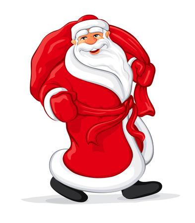ベアリング: サンタ クロース クリスマスの完全な袋と歩いてギフト ベクトル イラスト