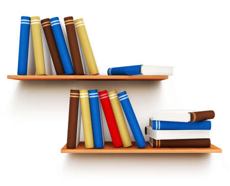 shelf with books: Color books with blank covers standing on the wall bookshelf isolated 3d illustration over white background