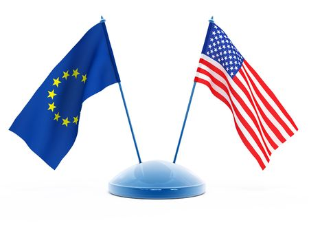 europian: National flags of USA and Europian Union isolated 3d illustration