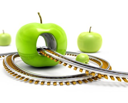 road and path through: Rail road moving throw the hole in the big green apple 3d illustration Stock Photo