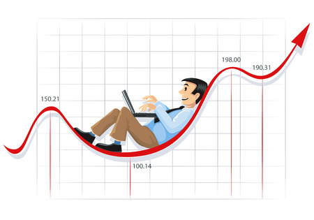 Businessman lying and working on the currency chart line Vector