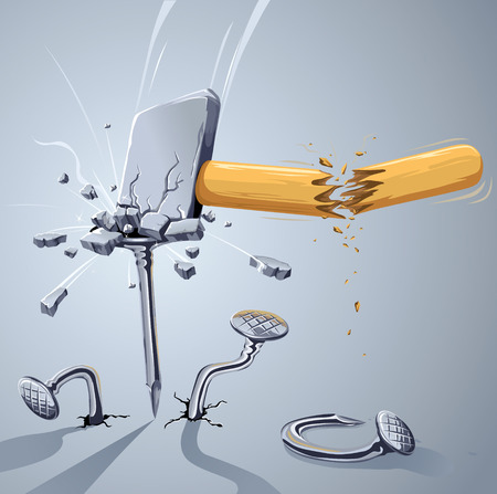 Hammer broken striking a nail. Strong hammer and weak nail. How do you think who win? :) Vector