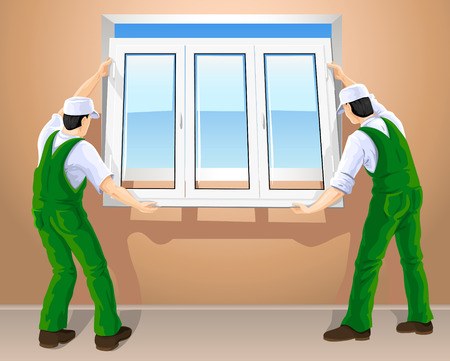 two workers editing new plastic window vector illustration Vector
