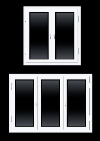 Two plastic windows vector illustration over black background Stock Vector - 2525695