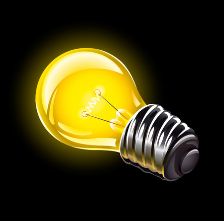 socle: electric bulb lighting device vector illustration isolated over black background Illustration