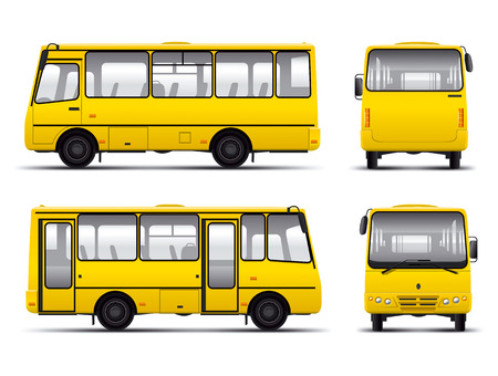 yellow minibus vector draft template isolated over white background Vector