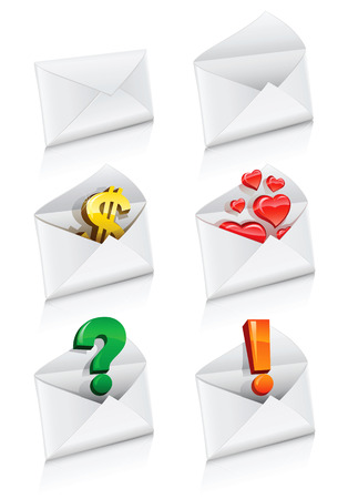 vector icons mail envelope collection with business signs: dollar, hearts, question and information. Vector