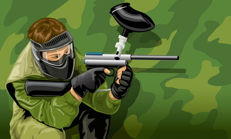 paintball: vector illustration paintball game player shooting