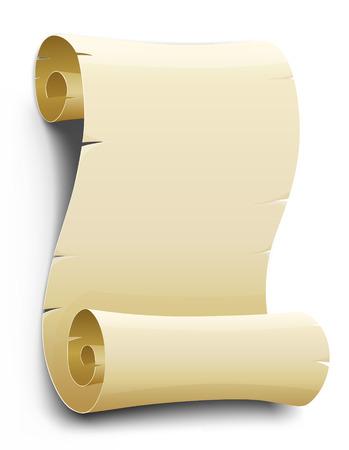 papiro: vettore vecchio script di carta bianco isolato su sfondo bianco