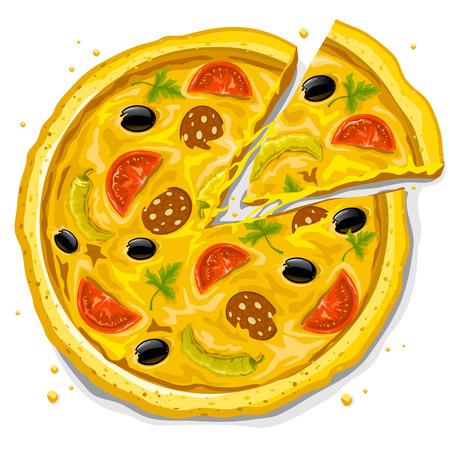 italian sausage: pizza fast food vector illustration isolated on white background Illustration