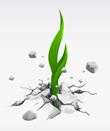force of nature: green sprout, pushing out from stones vector illustration